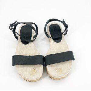 Splendid Black Leather Sandals Jute Flat Bottom